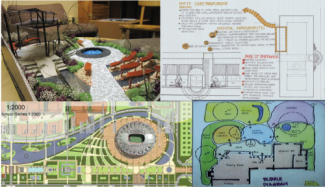 4 examples of student work grouped into one image, model, black and white drawing, color had drawn plan, and computer generated plan