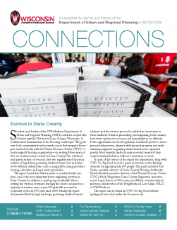 connections newsletter with photo of stacks of books