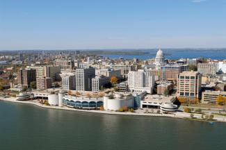 madison terrace and isthmus aerial view