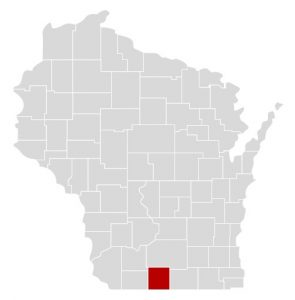 Green County is Highlighted on a map of Wisconsin